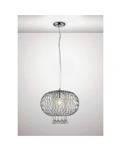 Diyas IL31521 Chelsie 1 Light Large Pendant In Polished Chrome - Dia: 380mm