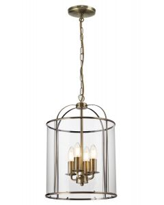 Traditional 4 Light Antique Brass Circular Hanging Hall Ceiling Lantern Light with Glass Panels