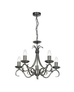 Endon 2030-5AS 5 Light Chandelier In Antique Silver