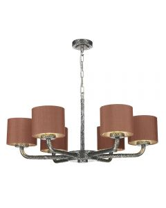 David Hunt Lighting SLO0699/SI Sloane 6 Light Dual Mount Pendant In Pewter With Silk Shades