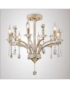 Diyas IL32366 Fiore 6 Light Semi Flush Ceiling Light In French Gold