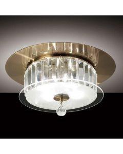 IL30243 Tosca Antique Brass 4 Lt Flush Crystal Ceiling Lamp