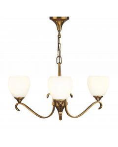 Interiors 1900 63439 Columbia 3 Light Pendant Light In Brass With Matt Opal Glass Shades