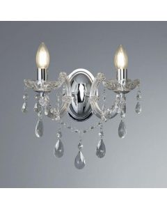 Searchlight 399-2 Marie Therese 2 Light Crystal Wall Light In Polished Chrome