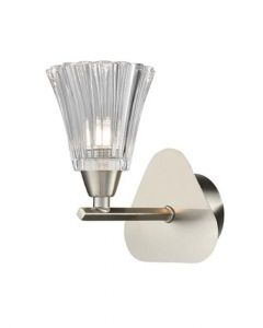 F2376-1 One Light Wall Light In Satin Nickel With Clear Glass Shade