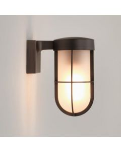 Astro 7849 Cabin Exterior Wall Light In Bronze With Frosted Glass
