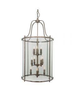 Hakka Giant Antique Brass 12 Light Round Hanging Hall Lantern