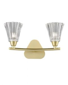 F2377-2 Two Light Wall Light In Matt Gold Finish With Clear Glass Shades