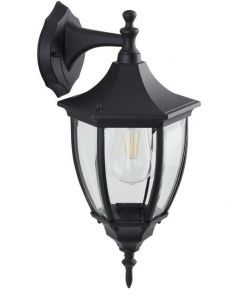 Traditional Black IP44 Outdoor Hexagonal Wall Lantern Down Light