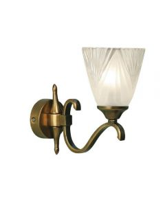 Interiors 1900 63452 Columbia 1 Light Wall Light In Brass With Deco Style Glass Shade