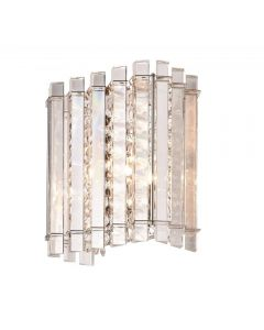 1 Light Wall Light In Chrome Plate And Clear Crystal Glass