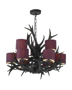 David Hunt Lighting ANT1322 + ABY58/WH Antler 9 Light Pendant with Silk Shades