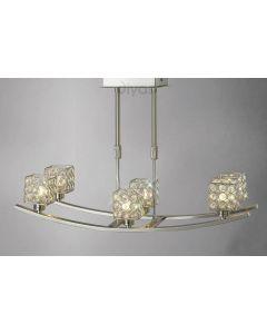 Diyas IL20642 Ellen Satin Nickel And Crystal Ceiling Pendant Light