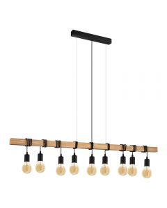 Eglo 49744 Townshend 9 Light Linear Ceiling Pendant In Wood With Brown And Black