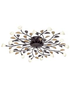 Eglo 90737 Campania 15 Light Semi Flush Ceiling Light In Antique Brown And Gold