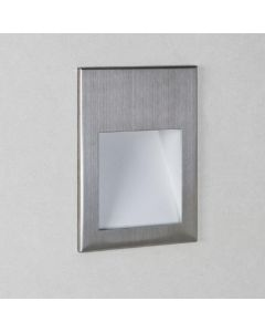 Astro 1212018 Borgo One Light LED Recessed Wall Light In Brushed Stainless Steel, 3000K - H: 70mm