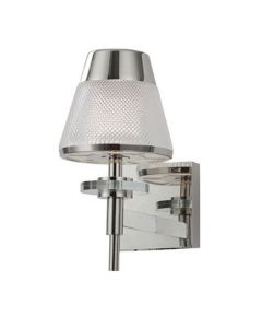 F2379-1 One Light Wall Light In Chrome With Textured Glass
