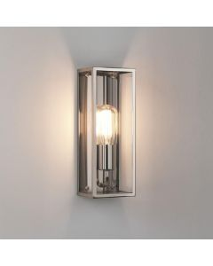 Astro 1183006 Messina One Light Outdoor Wall Light In Polished Nickel With Clear Glass - W: 130mm