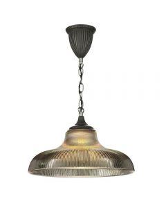 David Hunt Lighting BAD018 Badger 1 Light Pendant Ceiling Light In Steel With Steel Grey Glass