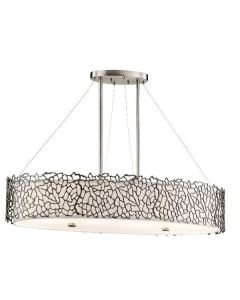 KL/SILCORAL/ISLE Silver Coral Oval Island Ceiling Pendant Light
