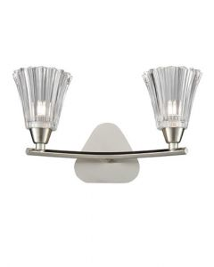 F2376-2 Two Light Wall Light In Satin Nickel With Clear Glass Shades
