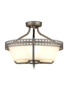 Elstead CROWN/SF Crown 3 Light Semi Flush/Pendant In Iron Gate