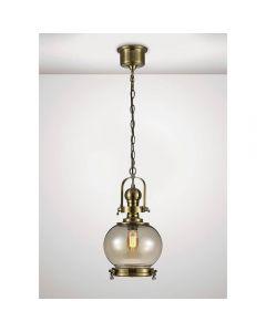 Diyas IL31596 Riley 1 Light Small Globe Pendant In Antique Brass - Dia: 240mm