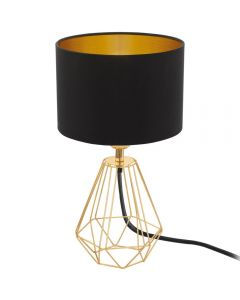 Eglo 95788 Carlton 2 One Light Table Lamp In Brass With Black And Gold Fabric Shade