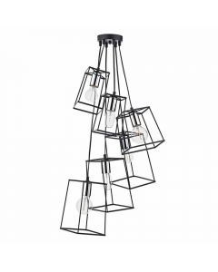 Dar TOW0650 Tower 6 Light Cluster Ceiling Pendant Light In Black With Chrome