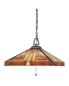 QZ/STEPHEN/3P Stephen Tiffany Bronze 3 Light Ceiling Pendant