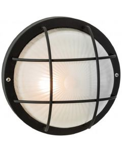 Firstlight 3425BK Court 1 Light Wall Light In Black With Frosted Glass