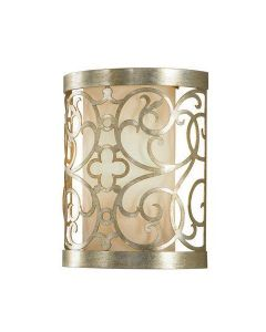 FE/ARABESQUE1 1 Light Silver Leaf Patina Wall Sconce