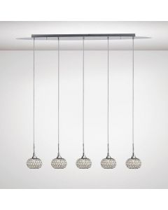 Diyas IL31507 Chelsie 5 Light Linear Pendant In Polished Chrome