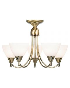 Endon 1805-5AN 5 Light Chandelier In Antique Brass