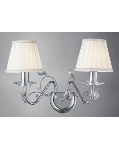Diyas IL31212 + ILS31218 Willow Wall Light in Polished Chrome with Shades