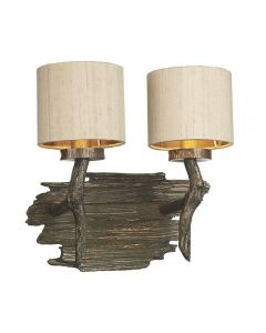 David Hunt Lighting JOS0901 Joshua Two Light Wall Light In Bronze With Taupe Shades