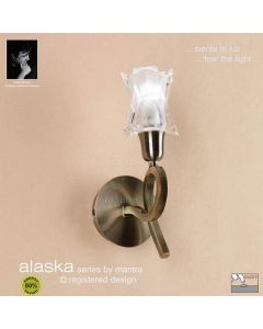 M8613AB/S Alaska Low Energy 1Lt Switched Ant Brass Wall Lamp