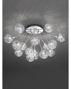 F2329/15 Chrome 15 Light  Textured Glass Ceiling Light
