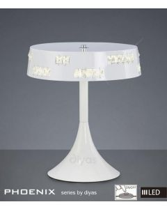 IL80002 Phoenix LED 18 Light White & Crystal Table Lamp