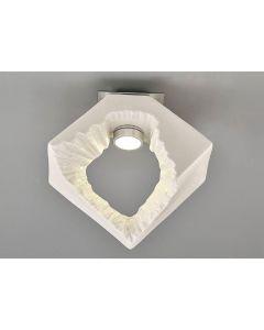Diyas IL80063 Salvio 1 Light Square Flush Light In Chrome And White