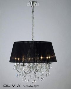 IL30056BL Olivia 8 Light Ceiling Pendant in Chrome with Black Shade