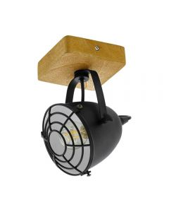 Eglo 49076 Gatebeck 1 Light Ceiling Spotlight In Natural Wood And Black