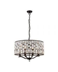 8 Light Ceiling Pendant In Dark Bronze With Clear Crystal Glass