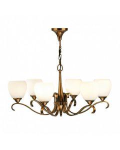 Interiors 1900 63438 Columbia 6 Light Ceiling Pendant Light In Brass With Matt Opal Glass Shades