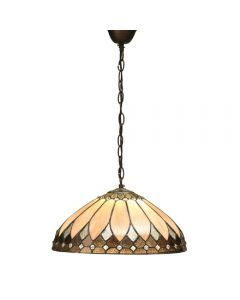 Interiors 1900 63977 Brooklyn Tiffany 1 Light Medium Ceiling Pendant In Cream