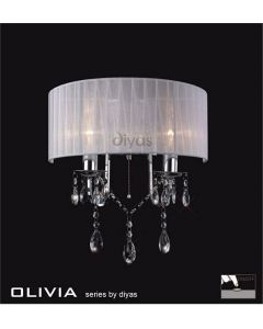 IL30061WH Olivia 2 Light Chrome Wall Bracket with White Shade