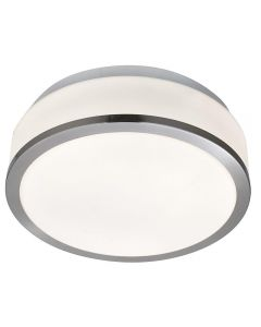 Searchlight 7039-28SS Bathroom Modern Silver Ceiling Light with Opal Glass