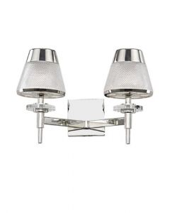 F2379-2 Two Light Wall Light In Chrome With Textured Glass