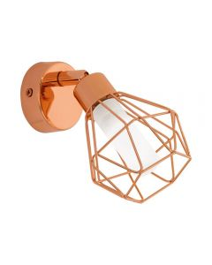 Eglo 95545 Zapata One Light Wall Light In Copper With White Satinated Glass