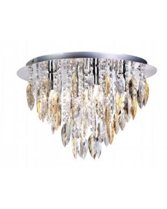 Willazzo 5 Light Flush Ceiling Fitting In Chrome With Champagne Drops